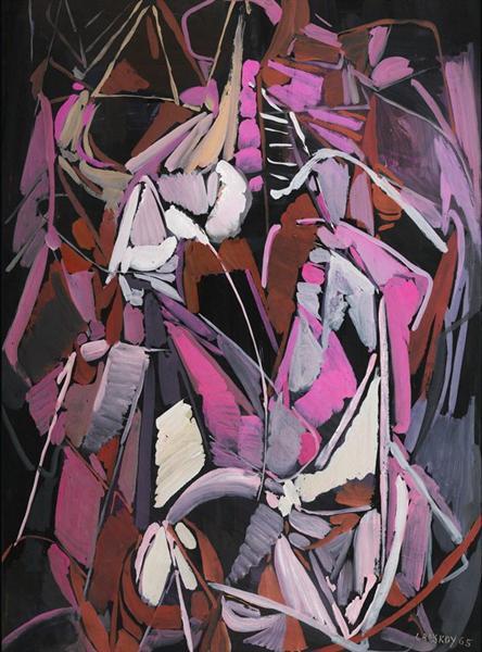 Composition rose et parme sur fond noir - Андрей Ланской