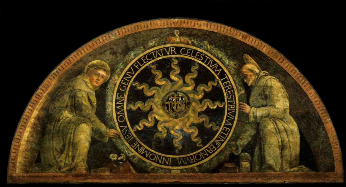 saint anthony of padua and st  bernardine of siena presenting the monogram of christ  1452