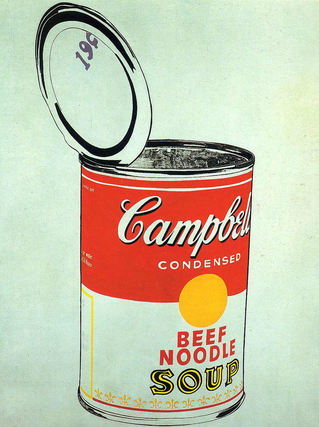 andy warhol soup can Though campbell's soup cans resembles the mass-produced, printed advertisements by which warhol was inspired, it is hand-painted, while the fleur de lys pattern ringing each can's bottom edge is hand-stamped.