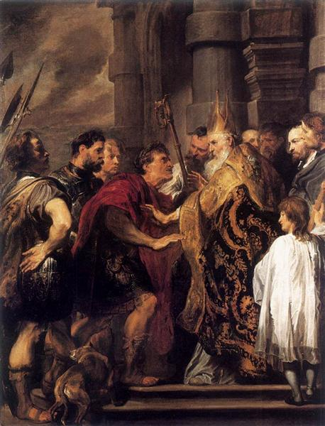 Emperor Theodosius Forbidden by St Ambrose To Enter Milan Cathedral, 1619 - 1620 - Anthony van Dyck