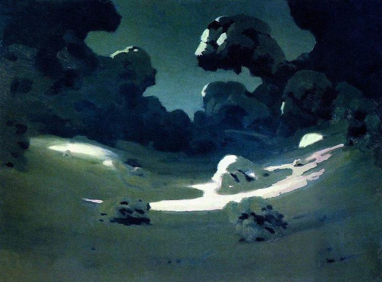 Moonlight in a Forest. Winter, c.1908 - Archip Iwanowitsch Kuindschi