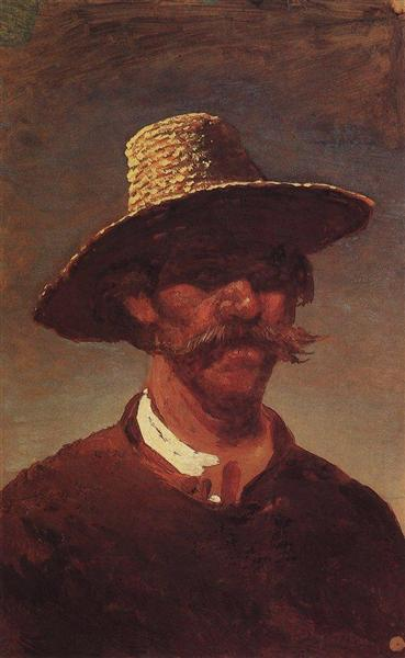 The head of a Ukrainian peasant in a straw hat, c.1895 - Arkhip Kuindzhi