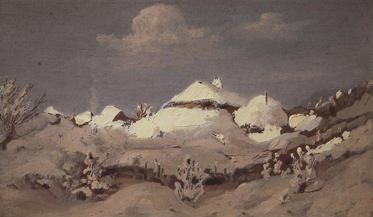 Winter. Spots of Light on Cottage Roof, c.1895 - Arkhip Kuindzhi