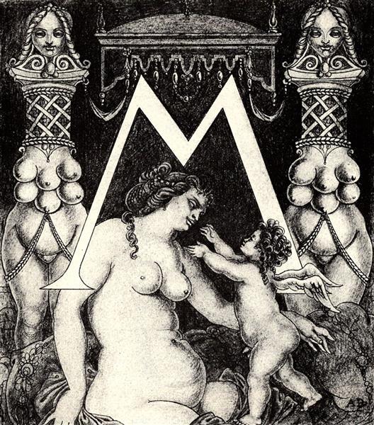 Initial M for Ben Jonson His Valpone, 1897 - Aubrey Beardsley