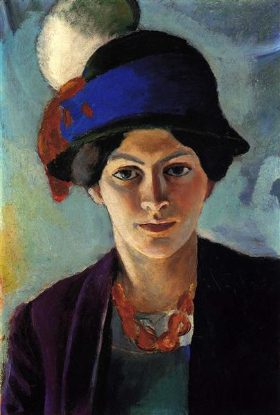 Portrait of the artist's wife with a hat, 1909 - August Macke