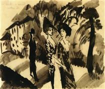 Two Women and a Man on an Avenue - August Macke