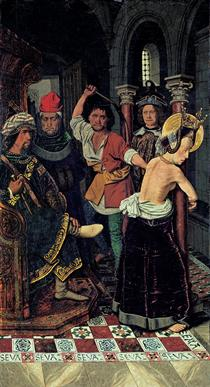 The Flagellation of St Engracia - Bartolome Bermejo