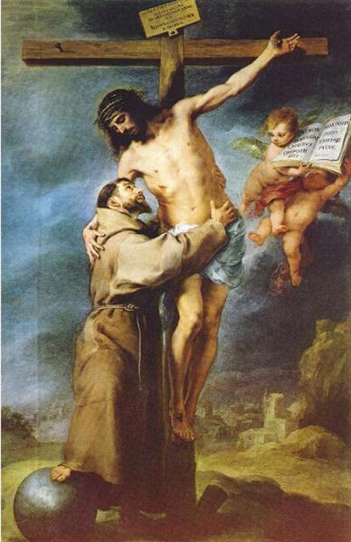 Saint Francis of Assisi embracing the crucified Christ, c.1668 - Bartolomé Esteban Murillo