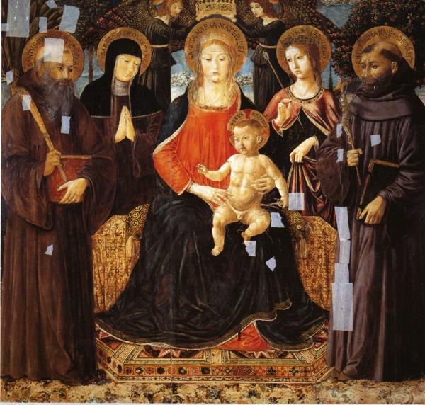 Madonna and Child Enthroned Among St. Benedict, St. Scholastica, St. Ursula and St. John Gualberto, c.1490 - Benozzo Gozzoli