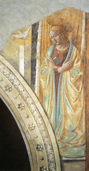 Tabernacle of the Visitation: Annunciation: Mary, 1491 - Benozzo Gozzoli