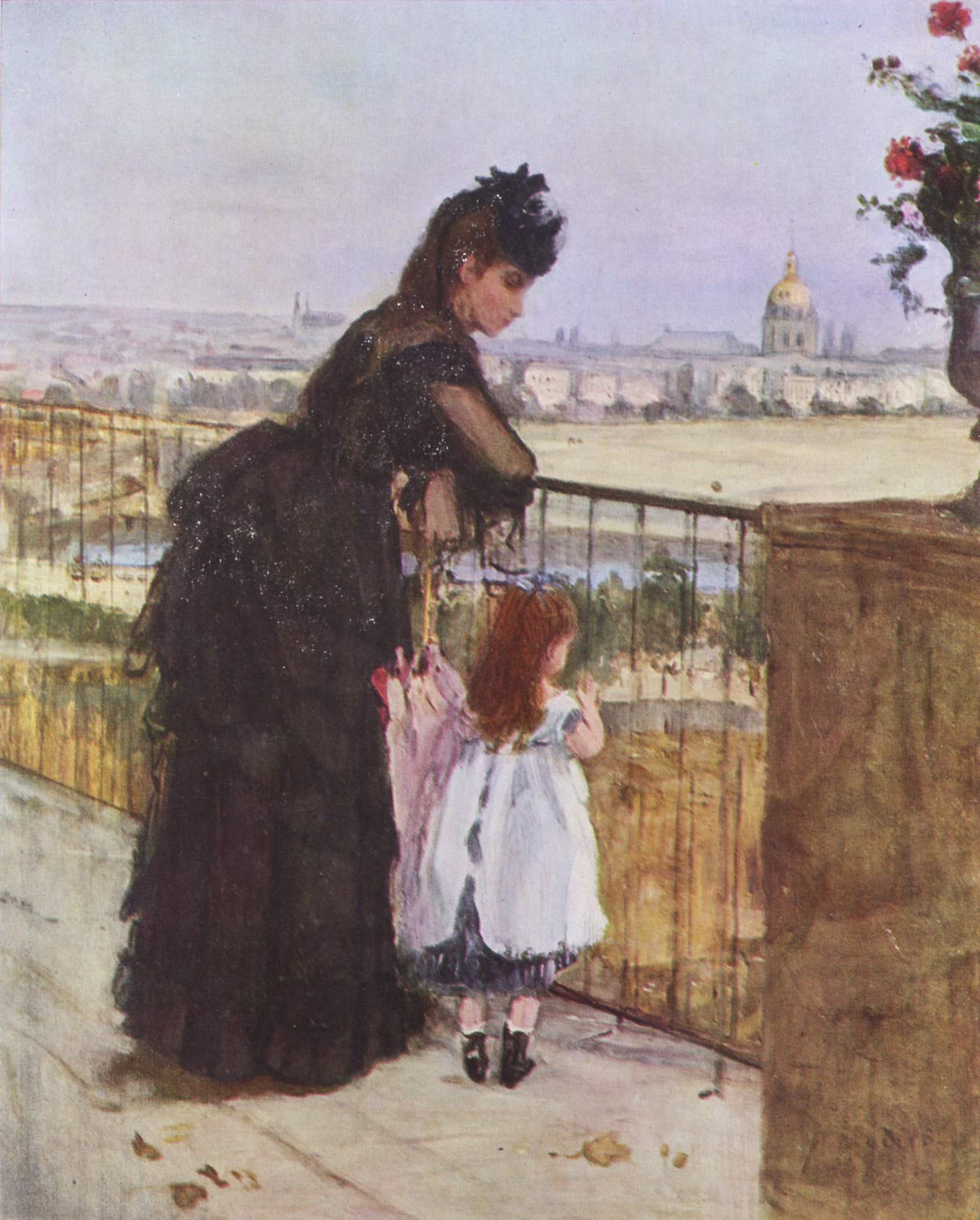 woman and child on the balcony 1872 berthe morisot