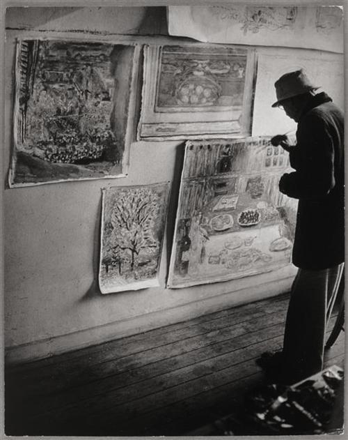 "Bonnard peignant ses quatre toiles (dont ""l'Amandier""), 1946"