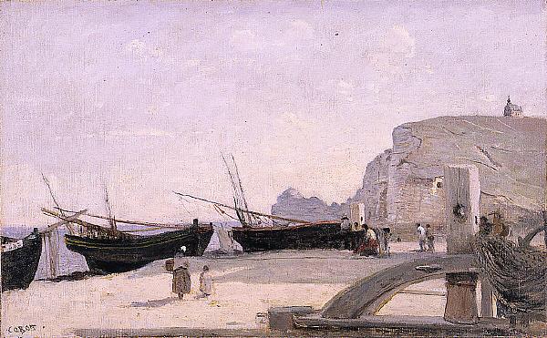 The Beach, Étretat - Camille Corot