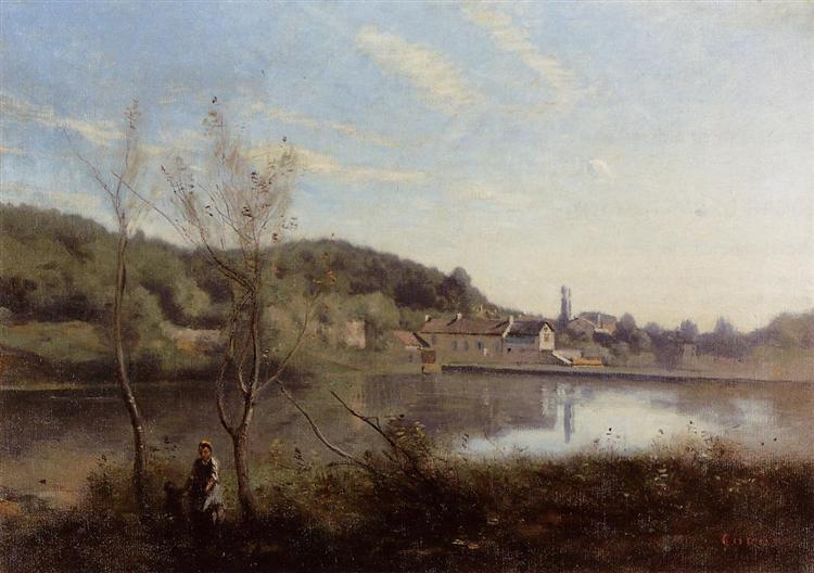 Ville d'Avray, the Large Pond and Villas, c.1850 - c.1855 - Camille Corot