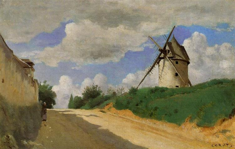 Windmill on the Cote de Picardie, near Versailles, c.1835 - c.1840 - Camille Corot