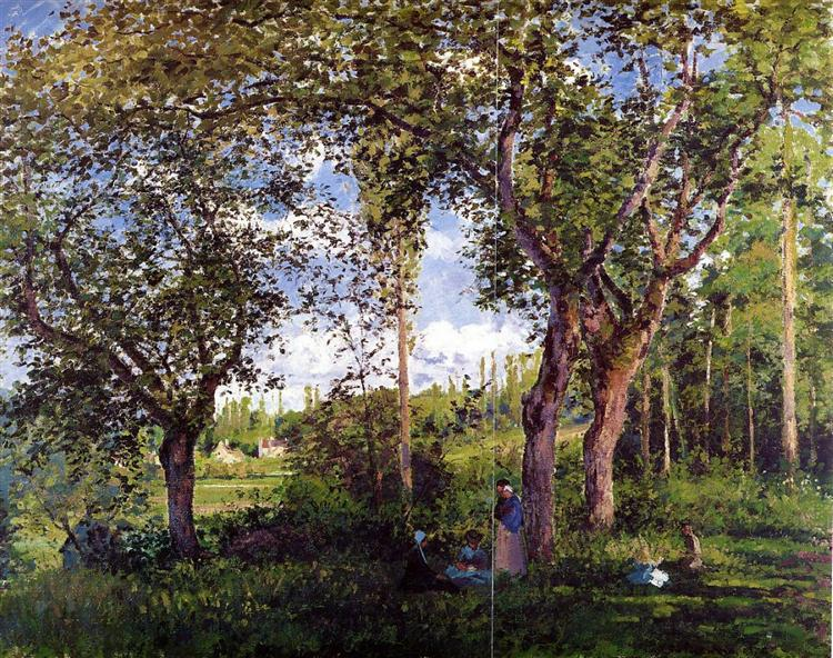 Landscaping Under The Trees : Landscape with strollers relaxing under the trees