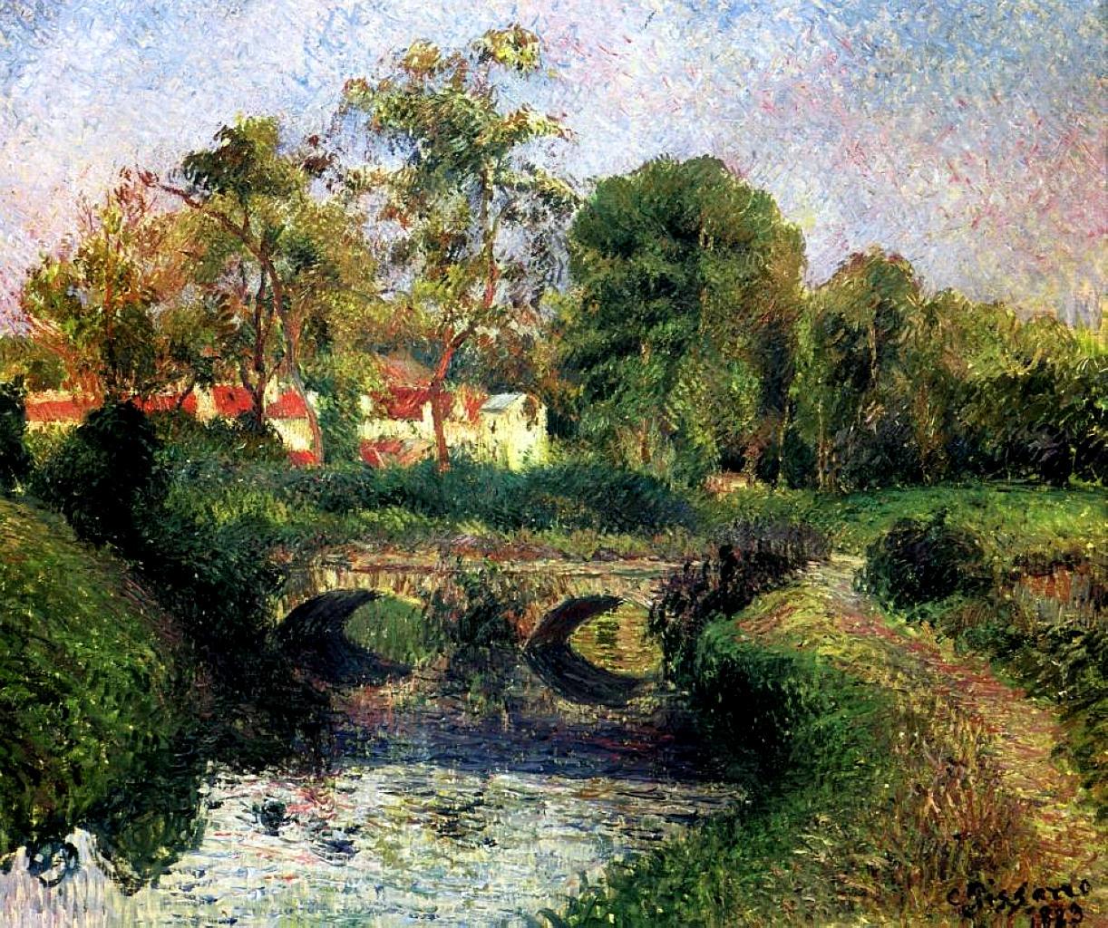 Resultat d'imatges de Little Bridge on the Voisne, Osny 1883 by Camille Pissarro