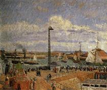 The Pilot's Jetty, Le Havre High Tide, Afternoon Sun - Camille Pissarro