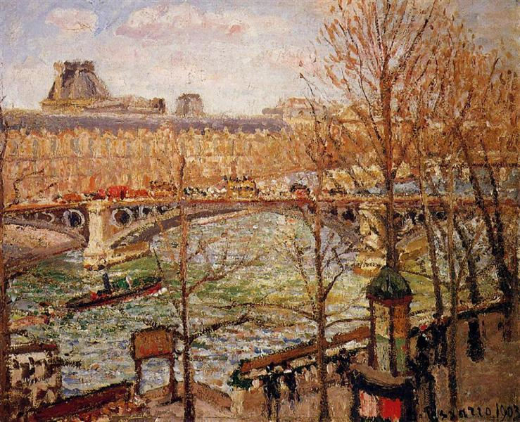 The Pont du Carrousel, Afternoon, 1903 - Camille Pissarro