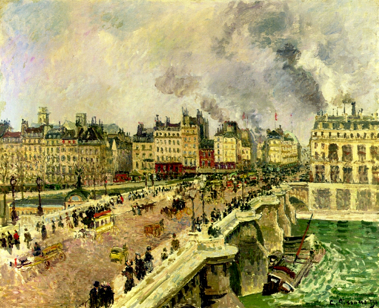 the pont neuf shipwreck of the bonne mere 1901 camille pissarro. Black Bedroom Furniture Sets. Home Design Ideas