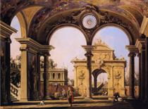 Capriccio di un arco trionfale rinascimentale visto dal portico di un palazzo - Canaletto