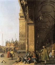 Piazza San Marco, guardando ad est dall'angolo sud-ovest (Piazza San Marco e colonnato) - Canaletto