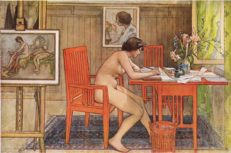 Model Writing Postcards, 1906 - Carl Larsson