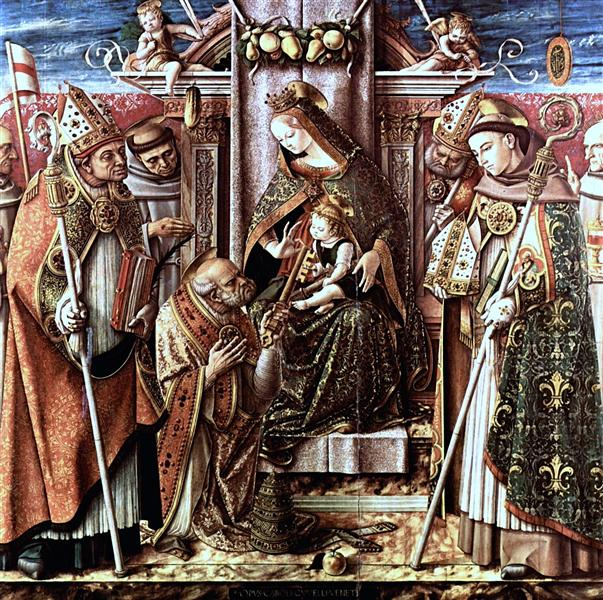 Virgin and Child Enthroned with Saints, c.1488 - Carlo Crivelli