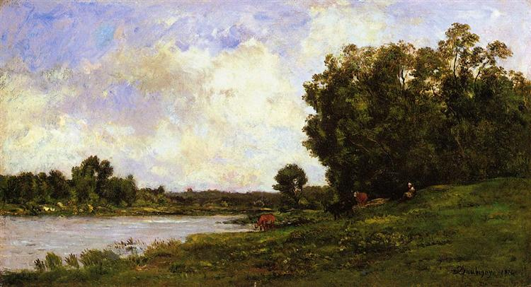 Cattle on the Bank of the River, 1872 - Charles-Francois Daubigny