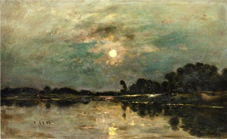 Riverbank in Moonlight, 1875 - Charles-Francois Daubigny