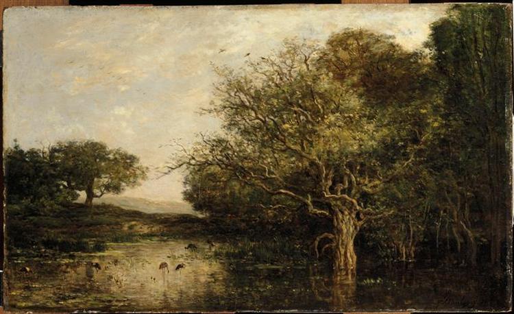 The pond with a herons, 1857 - Charles-Francois Daubigny