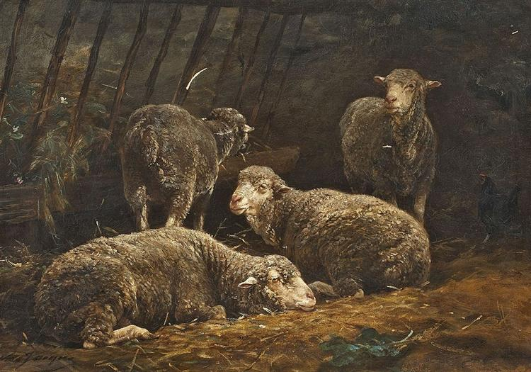 Schafe im Stall - Charles Jacque