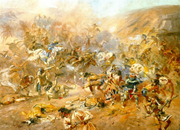 Battle of Belly River - Charles M. Russell