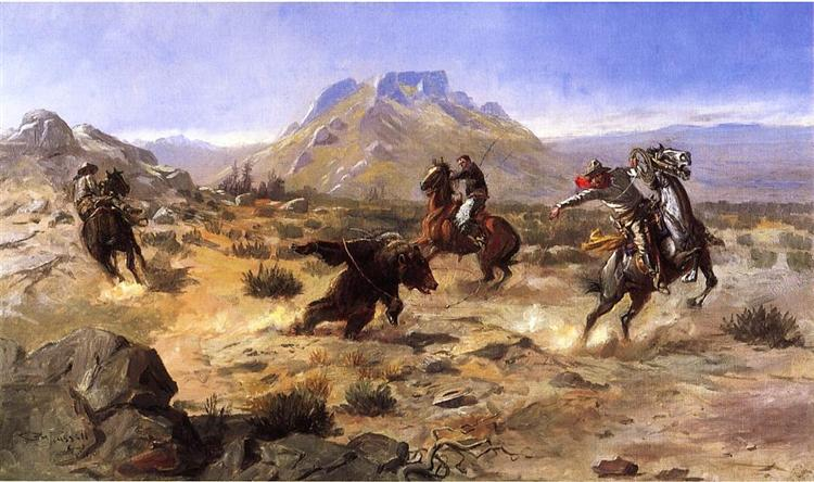 Capturing the Grizzly, 1901 - Charles M. Russell