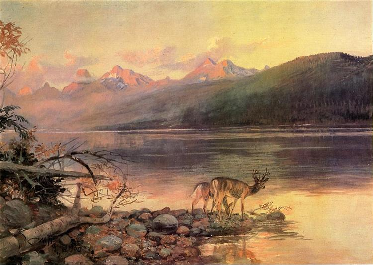 Deer at Lake McDonald, 1908 - Charles M. Russell