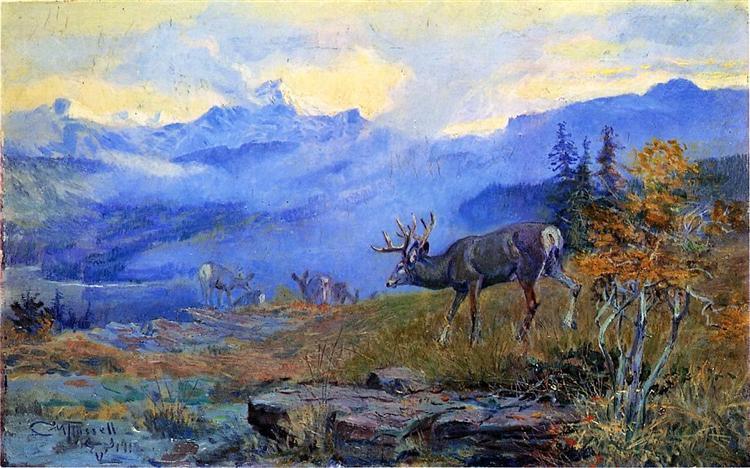 Deer Grazing, 1912 - Charles M. Russell