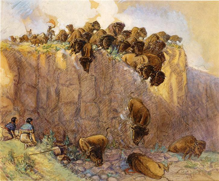 Driving Buffalo Over the Cliff, 1914 - Charles M. Russell