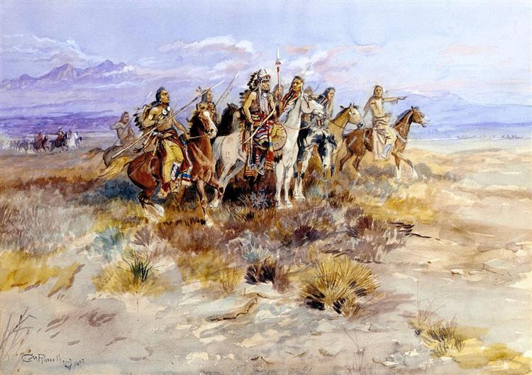 Indian Scouting Party, 1897 - Charles Marion Russell