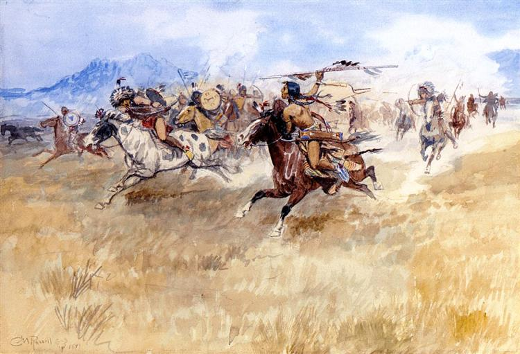 The Battle Between the Blackfeet and the Piegans, 1897 - Charles M. Russell