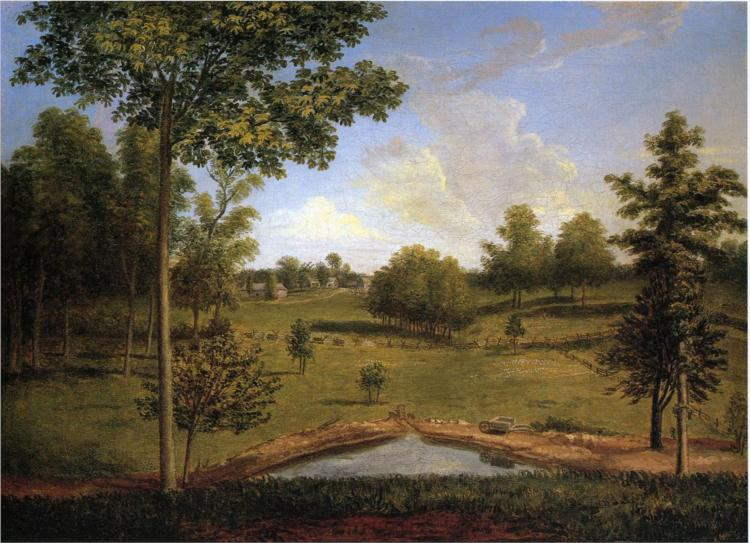 Landscape Looking Towards Sellers Hall from Mill Bank, 1818 - Charles Willson Peale