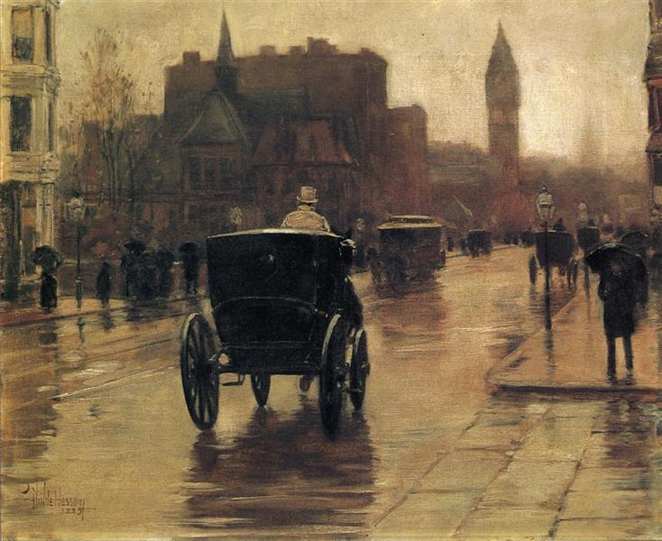 Columbus Avenue, Rainy Day, 1885 - Childe Hassam