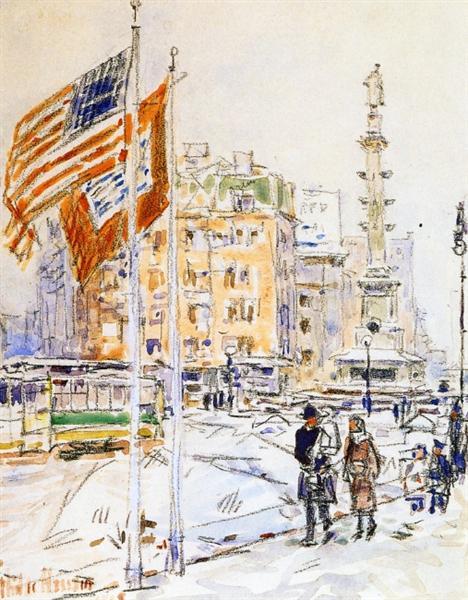 Flags, Columbus Circle, 1918 - Childe Hassam