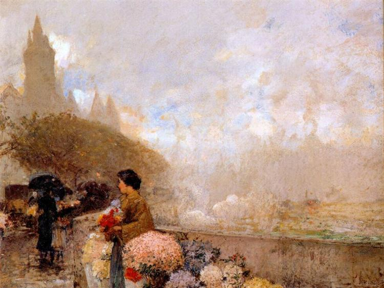 Flower girl by the Seine, Paris, 1889 - Childe Hassam