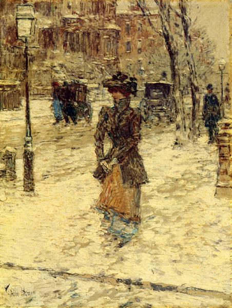 Lady Walking down Fifth Avenue, 1902 - Childe Hassam