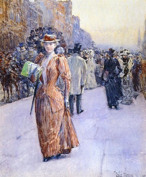New York Street Scene, 1890 - Childe Hassam