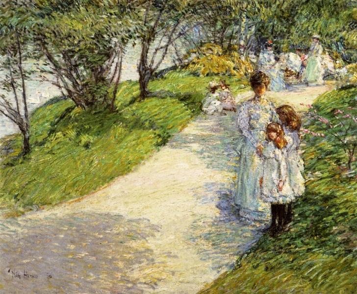 Promenaders in the garden, 1898 - Childe Hassam