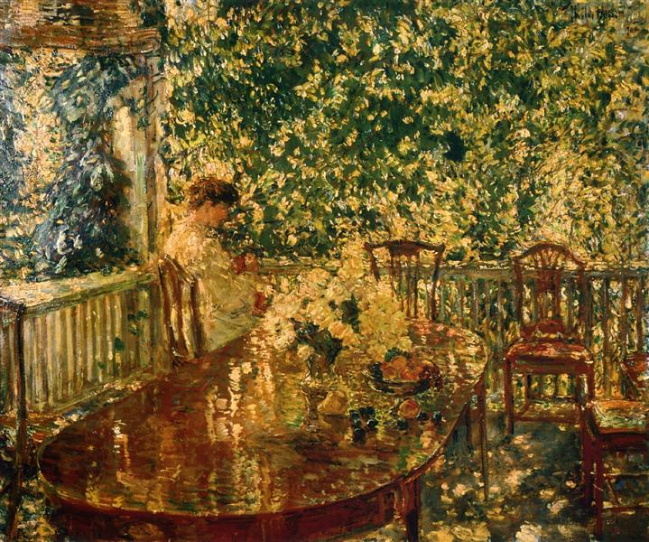 Summer Porch at Mr. and Mrs. C.E.S. Wood's - Childe Hassam