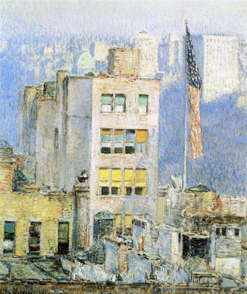 The Flag, Fifth Avenue, 1918 - Childe Hassam