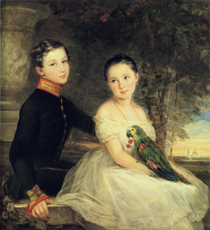 Children with Parrot, 1850