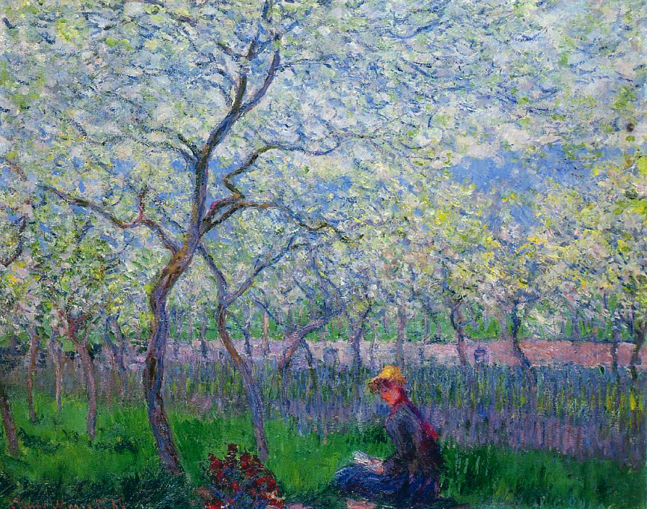 An orchard in spring 1886 claude monet for Spring canvas paintings